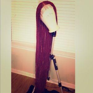 "Dark red 32"" hand braided custom full lace wig"